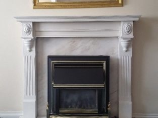 Portugese Marble Fireplace with wooden surround and heater
