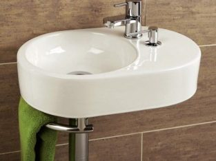 Cloakroom Wash Basin, HIB Brienza With Towel Rail & Soap Dispenser