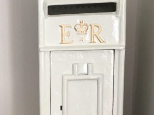 HIRE ONLY CAST IRON ROYAL MAIL WHITE POST BOX
